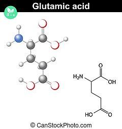 Estructura química de ácido glutámico