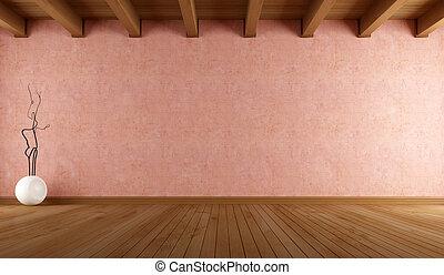 estuco, habitación vacía, pared