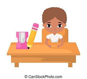 Estudiante afro sentado en el escritorio de la escuela con educación de suministros