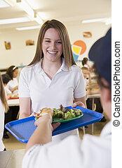 Estudiante almorzando en el comedor