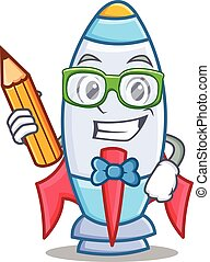 Estudiante con dibujos animados de un lindo cohete