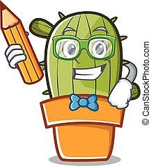 Estudiante con dibujos de cactus lindos con lápiz