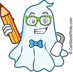 Estudiante con dibujos de un lindo personaje fantasma
