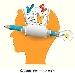 Estudiante de matemáticas, concepto de soluciones inteligentes.