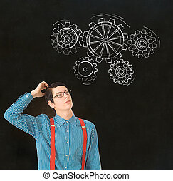 Estudiante de negocios nerd, profesor de tiza, engranajes de pensamiento