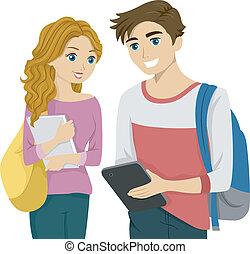 estudiante, tableta