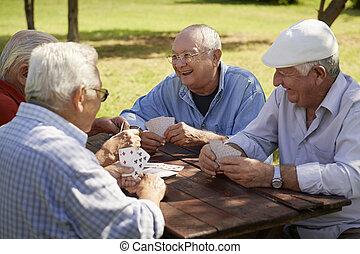 Estudiantes activos, grupos de viejos amigos jugando cartas en el parque