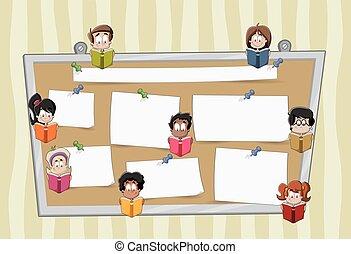 Estudiantes de dibujos animados leyendo libros sobre una gran pizarra con papeles.