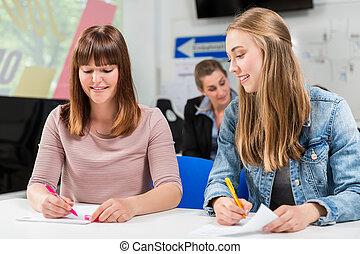 Estudiantes escribiendo examen o examen después de terminar sus clases de manejo