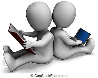 estudiantes, estudiar, libro, aprendizaje, en línea, o, exposiciones