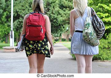 estudiantes, frente, ambulante, escuela