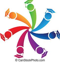 estudiantes, logotipo, trabajo en equipo, graduados