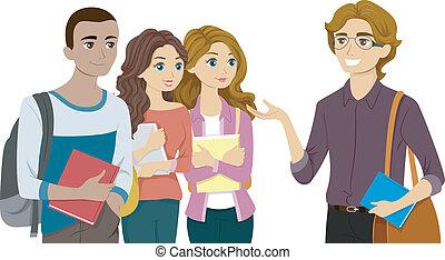 Estudiantes reuniéndose con su profesor