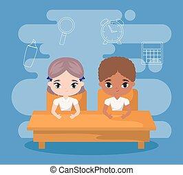 Estudiantes sentados en el escritorio de la escuela con educación de suministros