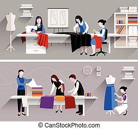 estudio, costura, diseño, plantilla