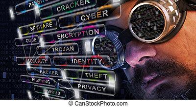 estudio, cyber, tripe, hombre de seguridad, bigote, barba