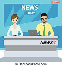 estudio de la televisión, moderno, anclas, europeo, macho, noticias, hembra