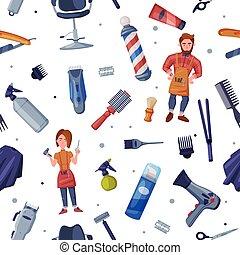 estudio, herramientas, servicio, ilustración, papel pintado, papel, plano de fondo, diseño, salón, seamless, patrón, pelo, vector, profesional, textil, peluquero, envoltura, barbaer, peluquería, tienda