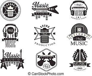 Estudios musicales emblemas en blanco y negro