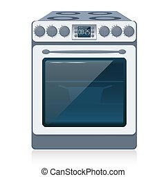 estufa, cocina, aislado, vector., white.