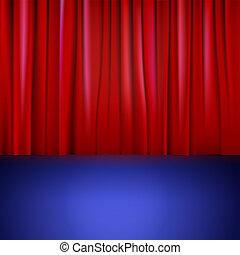 Etapa con cortina roja.