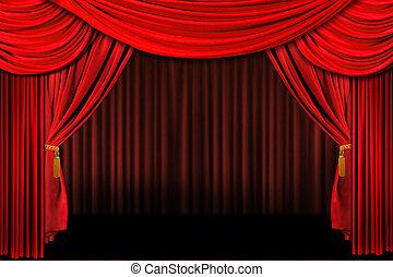 etapa, teatro, rojo, cortinas