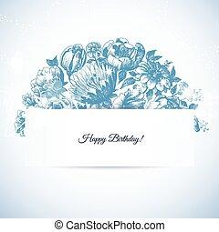 Etching floral tarjeta de felicitación del jardín, mano dibujada estilo vintage de ramo