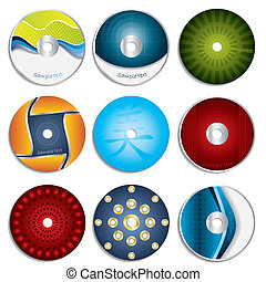 etiqueta, 3, diseños, y, cd, dvd