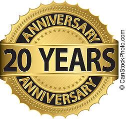 etiqueta, años de oro, aniversario, 20