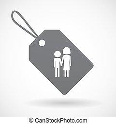 Etiqueta aislada con un pictograma de la infancia