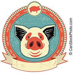 Etiqueta de cabeza de cerdo en la textura de papel antiguo. Estilo vintage