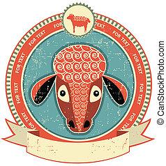 Etiqueta de cabeza de oveja en la textura de papel antiguo. Estilo vintage