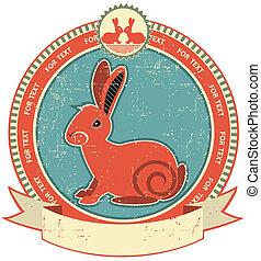 Etiqueta de conejo en la textura de papel antiguo. Estilo vintage