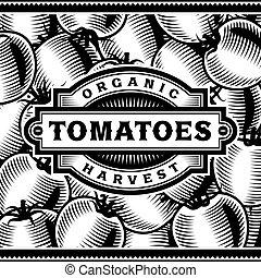 Etiqueta de cosecha de tomates en blanco y negro