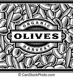 Etiqueta de cosecha Retro oliva en blanco y negro