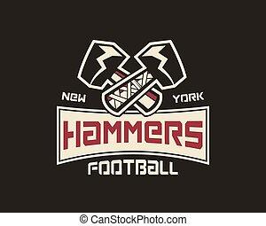 Etiqueta de fútbol americano. Elemento de logo Hammer innovador e inspiración creativa para la empresa de negocios, equipo deportivo, campeonato universitario, etc. Un emblema deportivo. Vector