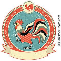 Etiqueta de gallo en la textura de papel antiguo. Estilo vintage