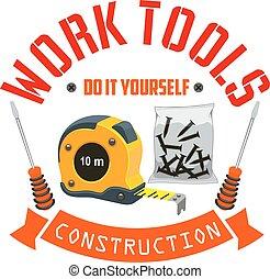 Etiqueta de herramientas de construcción