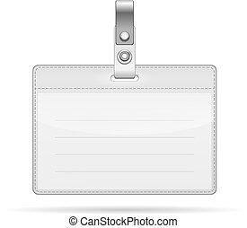 Etiqueta de identificación aislada en blanco