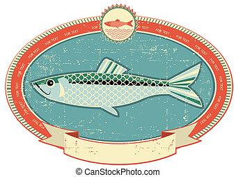 Etiqueta de pescado en textura de papel antiguo. Estilo de vintage