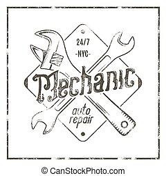 Etiqueta de reparaciones mecánica. Gráficos de diseño de camisetas antiguas, impresos de reparación de coches completos. Tarjeta de camiseta aduana, camiseta gráfica. Usar como emblema, logo en la web. Obras de monocromo Vector