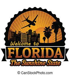 Etiqueta de viaje de Florida o sello