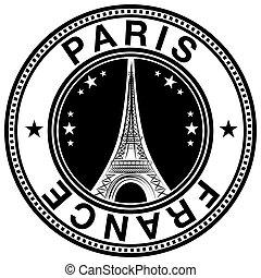 etiqueta, estampilla, francia, torre, eiffel, parís, sello