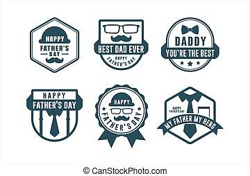 etiqueta, insignia, día padre, colección
