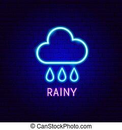 etiqueta, neón, lluvioso