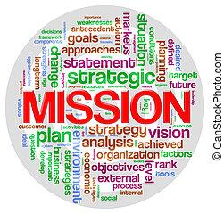 etiqueta, palabra, misión