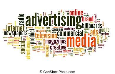 etiqueta, palabra, publicidad, nube