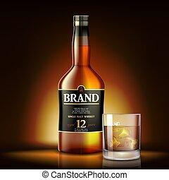 etiqueta, realista, oro, botella, ilustración, design., bebida, anuncios, malta, vector, fondo., solo, brillante, 3d, vidrio, whisky