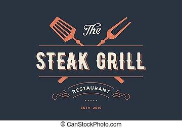 etiqueta, restaurante, parrilla, filete
