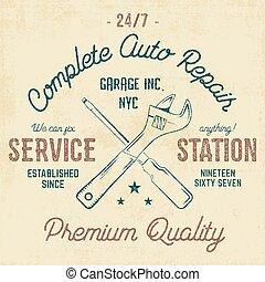 Etiqueta vintage de la estación de servicio, gráficos de diseño de tee, impresión de reparación de autos. Un sello de camiseta, una camiseta gráfica. Usar como huella de camiseta, emblema, logo en la web. Vector